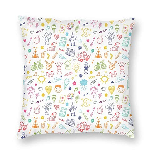 Decorative Pillow Case Cushion Cover, Childlike Drawing Of Children Sun Ethnic Tent Various Other Child Friendly Things ,suitable for Full-bed Yellow Throw Pillow Case Cushion Cover 18 X 18 Inches