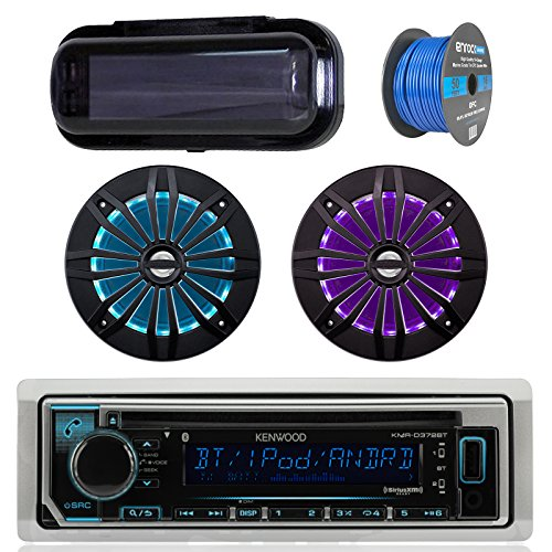 Kenwood Bluetooth Radio CD Receiver In-Dash Marine Boat Audio Bundle with Pair of Enrock 6.5