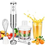 5-in-1 Immersion Hand Blender 800W 13-Speed Multi-purpose Immersion Blender with Stainless Steel Blade, Heavy Duty Chopper, Whisk, Milk Frother, Beaker for Smoothie, Baby Food, Sauces,Puree, Soup