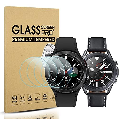 Diruite 4 Stück für Samsung Galaxy Watch 4 Classic 46mm (2021) / Galaxy Watch 3 45mm (2020) Panzerglas Schutzfolie [Kratzfest] [2.5D 9H Festigkeit]