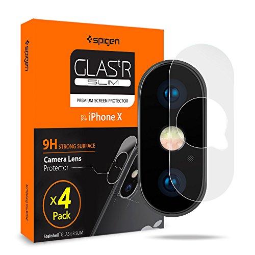 Spigen, 4 Stück, Kamera Schutzglas kompatibel mit iPhone XS Max/XS/X, Hüllenfreundlich, Anti-Kratzer Blasenfrei, Kristallklar, Keine Störung für Blitzfunktion Schutzfolie (057GL23344)