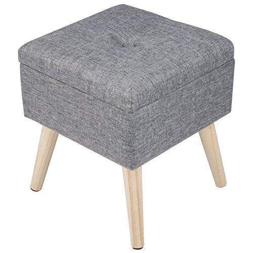 WOLTU Sitzhocker mit Stauraum Sitzwürfel Fußhocker Aufbewahrungsbox, Deckel Abnehmbar, Gepolsterte Sitzfläche aus Leinen, Holzbeine, 32x32x36,5CM(BxTxH), Hellgrau, SH26hgr