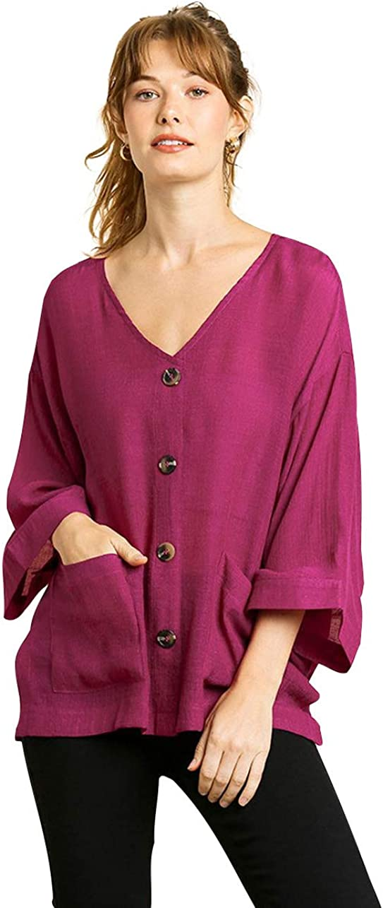 Umgee 高額売筋 Women's Faux Button Pocket Front 割り引き Top