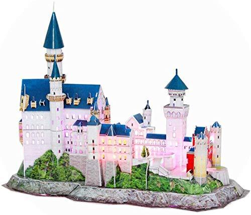 Abcoll Castle 3D-Puzzle LED-Architektur Modellbausätze 3D-Puzzles für Erwachsene für 10 Jahre alte Mädchen Jungen Geburtstagsgeschenke 128 Stück