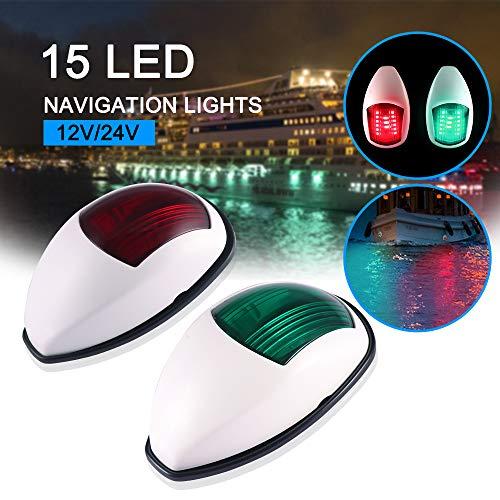 OurLeeme Luces de navegación para Barcos, 2 Piezas 12V Verde y Rojo Marine Boat Yacht 15 LED Luz de señal de navegación súper Brillante para Barco yate Skeeter