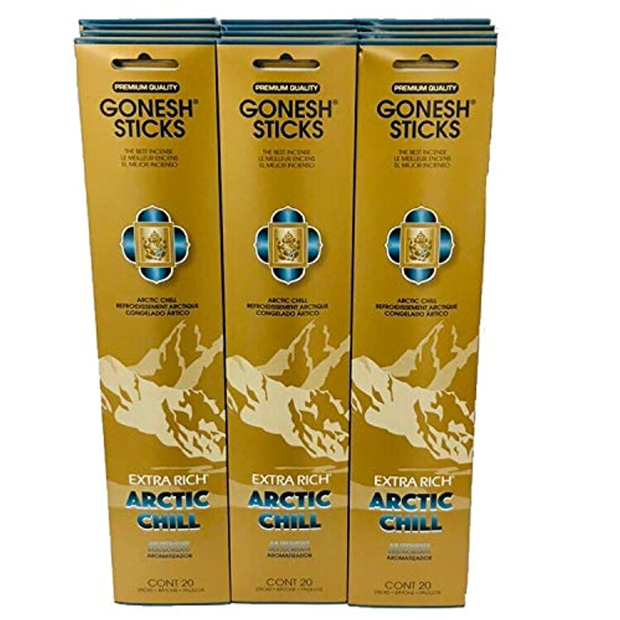 叱るコーン同化Gonesh?–?12?ARCTIC CHILL PACK ( 240?Sticks ) Incense Sticks Extra Richコレクション
