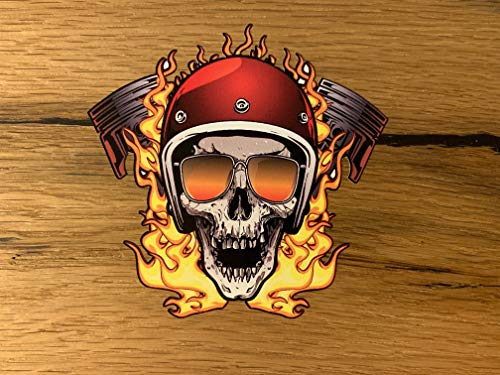 24/7stickers #742 Skull Flame Aufkleber 10x10cm Biker Chopper Motorrad Sticker V2 Custom Chrome Bobber Skull Rocker