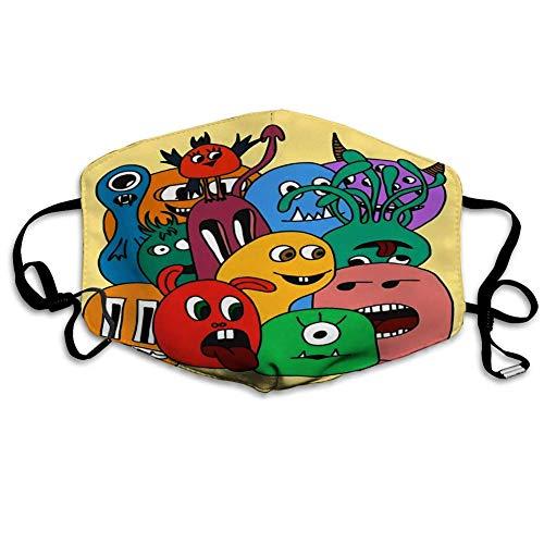Gesichts,Schutzhülle,Gesichtsdekoration,Gesichtsschal,Gesichtsschutz,Lustige Karikatur-Monsterkarte In Den Hellen Farben Bandana,18x11cm