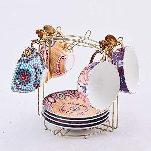 XCXDX Luxe en Porcelaine imprimée Café Ensemble, Fleur Tasse à thé, 4pièces d'or Tasses à café avec soucoupes et Support de Rangement