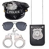 Haichen Juego de Accesorios para Disfraz de policía Sombrero de Oficial de policía Esposas Gafas de Sol Insignia de policía (Set-B)