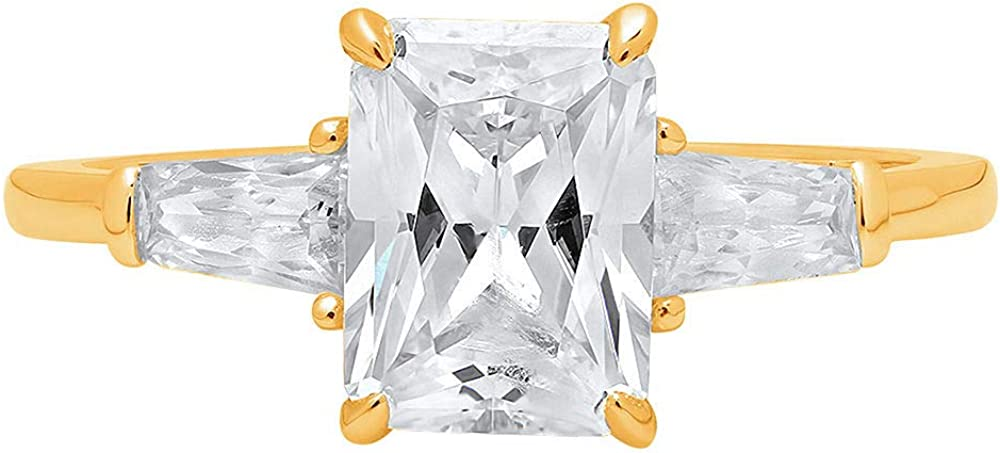 1.94ct Emerald Baguette cut 3 stone Solitaire with Accent Genuine Lab Created White Sapphire Ideal VVS1 & Simulated Diamond Engagement Promise Statement Anniversary Bridal Wedding Ring 14k Yellow Gold
