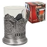 de vasos para té caliente de ruso (Rusia - estrella) y Metal sujetavasos de pared con 200ml Podstakannik