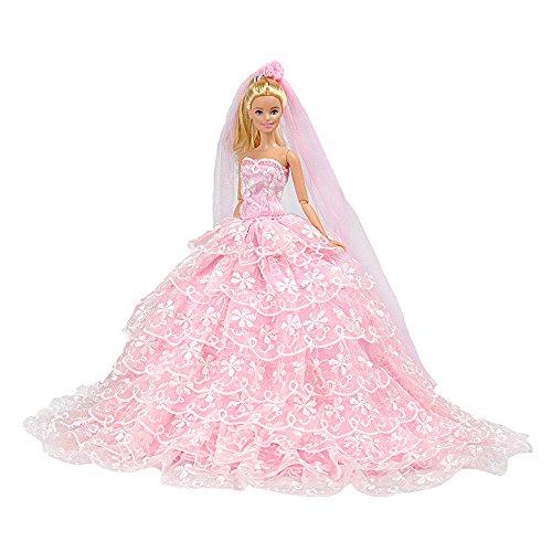 E-TING Prinzessin Puppe Kleid Kleidung Abend Party-Outfit + Schleier Set für Barbie Puppe beste Geschenk für Ihre Mädchen