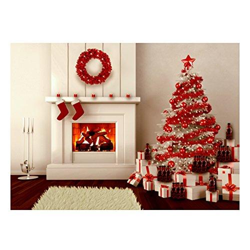 MASUNN 5X7Ft Vinyl Kerstboom Open haard geschenken Voorraad Achtergrond Fotografie Studio Achtergrond