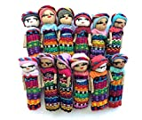 Mayan Arts Set of 12 Mini Decorative Worry Dolls, Handmade Cotton Dolls from Guatemala, 2 Inches, Party Favors Gift Ideas, Fair Trade (12)