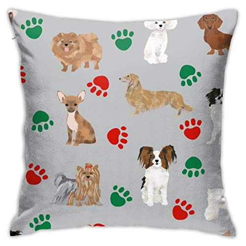 87569dwdsdwd Christmas Paws Dog Cute Dog Best Dogs Cute Christmas Dog Square Pillow Case Home Sofa Decorative 18' X 18'Inch Ultra Soft Comfortable
