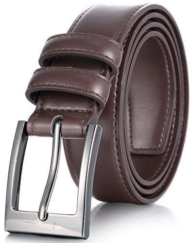 Marino's Men Genuine Leather Dress Belt with Single Prong Buckle - Chocolate Brown - 58