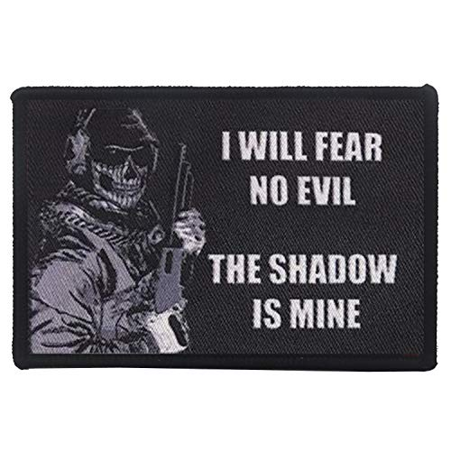 I Will Fear No Evil The Shadow is Mine Military Morale Patch DIY Appliques Emblem Embroidered Badge Fastener Hook & Loop Patch for Jeans, Cap, Backpacks, Jacket, Uniforms