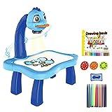 Tablero de dibujo de plástico magnético para niños, proyector, herramienta educativa de pintura, juego de escritorio de mesa de proyector de pintura musical para niños (Blue)