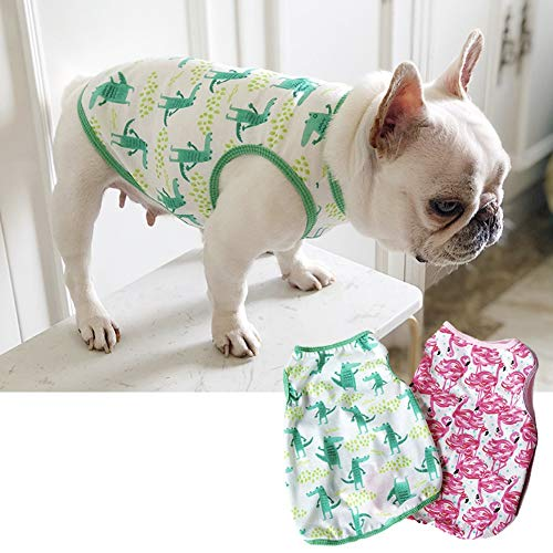 CheeseandU 1PC Pet Dog Summer Vest, 2019 Cute French Bulldog Dog Pure Cotton Fashion T-Shirt Breathable Soft Sleeveless Top Summer Dog Clothes for Small Medium Dogs Breeds Cats, Green Crocodile