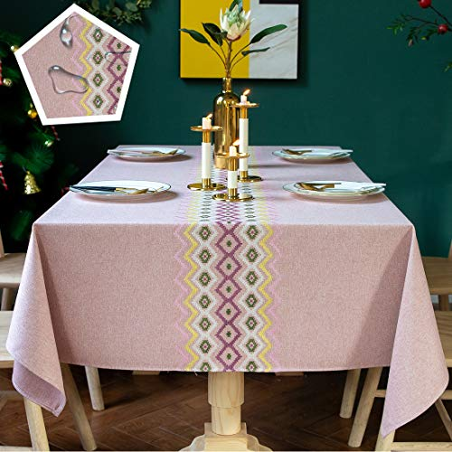 TEWENE Table Cloth, Waterproof Tablecloth Wrinkle Free Spill-Proof Cotton Linen Rectangle Tablecloth Wipeable Tableclothes for Dining Party (Rectangle/Oblong, 55''x86'',6-8 Seats, Pink)