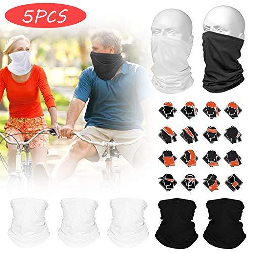 Dasongff multifunctionele doek, 5-pak outdoordoek, naadloze halsdoek, duurzame slang, sjaal, hoofddoek, hoofdband, uniseks, 10 draagvarianten