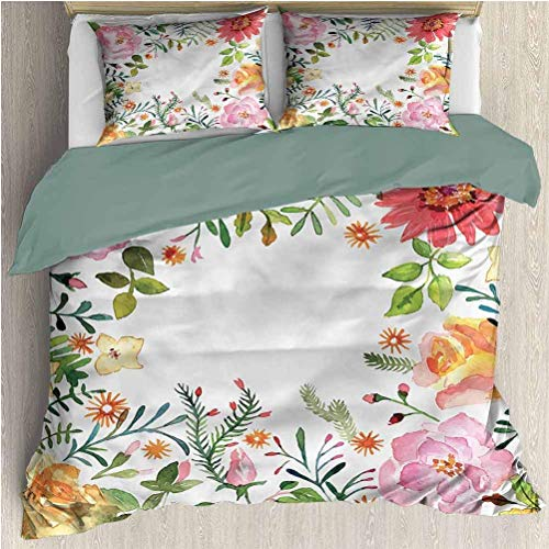 Funda nórdica de Cama de Tres Piezas de Flores Shabby Chic Romántica Primavera Funda nórdica Juego de Cama y Funda de Almohada California King Size
