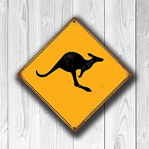 CELYCASY Kangaroo Kreuzschild Känguru Kreuzung Schilder Warnung Känguru Kreuzung Känguru Schild Känguru Dekor Känguru Xing gelb Schild