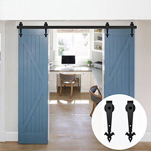 LWZH Doppelschiebetür-Set für Scheunentür, Stahl, Schwarz 6FT for Double Door schwarz