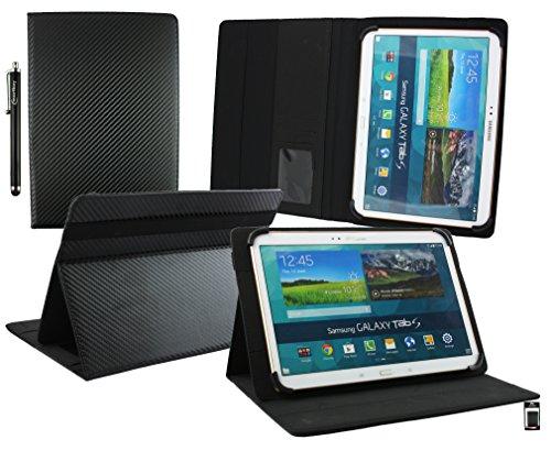 emartbuy® YunTab 3G Tablet 10.1 Zoll Universal Range (10-11 Zoll) Carbon Schwarz Multi Angle Exekutiv Folio Mappen Kasten Abdeckung mit Kartensteckplätze + Eingabestift