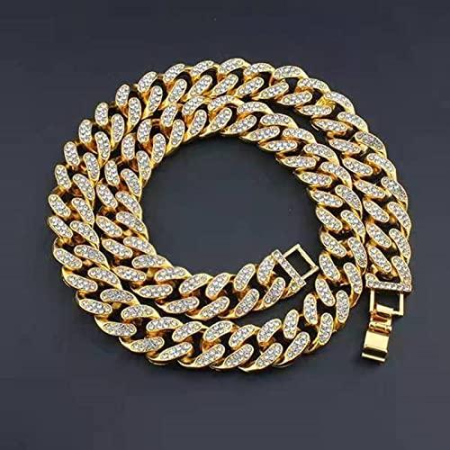 CHENLING Cadena de eslabones de diamantes de imitación pavimentados de 15 mm de metal pesado Miami Curb cadena cubana Bling Rapper collar para hombres Hip Hop joyería
