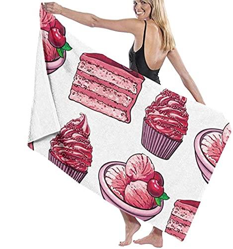WJSQJ Toalla De Playa,Pastel De Fresa Rosa Cupcakes Toalla De Baño Microfibra Secado Rápido Súper Suave Absorción De Agua Adecuado para Niños Y Adultos Viajes Yoga Natación Y Camping 80X130Cm