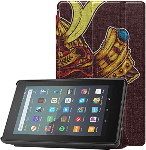 All-New Amazon Fire 7 Tablet Case (9th Generation, 2019 Release) Slim Fit Pu Leather Standing Samurai Head Dragon Skull Mask Drawing Fire 7 Tablet Standing with Auto Wake/Sleep