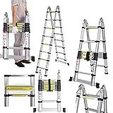 5 m Escalera telescópica extensible escalera de aluminio extensible de aluminio telescópica (aluminio telescópico Soporta hasta 150 kg)