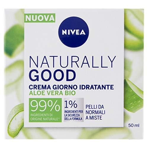 Nivea Naturally Good Crema Giorno Idratante con Aloe Vera Bio, per Pelli da Normali a Miste 50ml