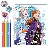Disney Frozen 2 Sketchbook Art Set for Girls with Colored Pencils + Erasers