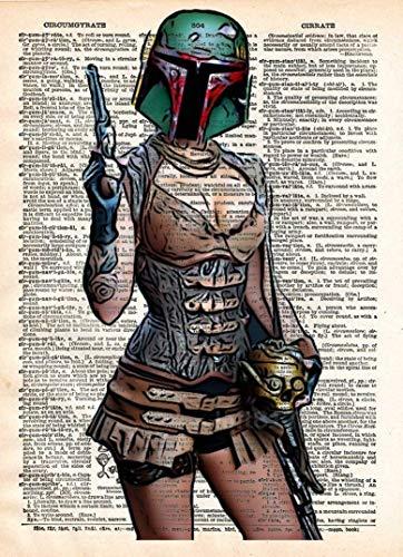 Boba Fett pin up girl, star wars art, sexy star wars, cool pop art, vintage dictionary art print