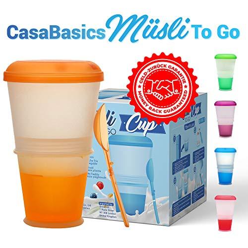 CasaBasics Muesli to Go beker met melk-koelvak & lepel, mueslibeker, yoghurthouder, thermobeker, mueslidoos