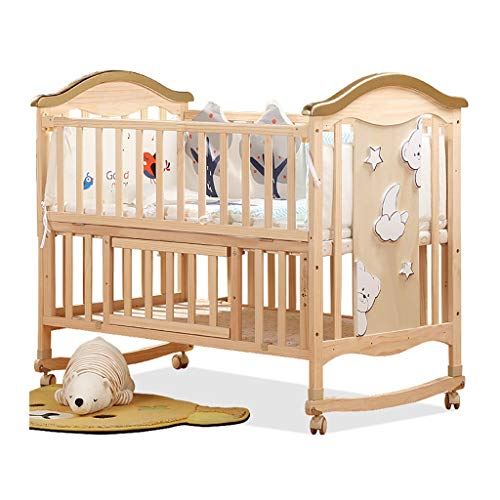 For Sale! Children's bed Cribs & Nursery Beds Cradle Bed Solid Wood Without Paint Bed Multifunctional Splicing Big Bed GIF for Wife Travel Beds (Color : Wood Color, Size : 1066498cm)