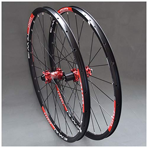 MZPWJD MTB Wheelset for Mountain Bike 26 27.5 29 in Double Layer Alloy Rim Sealed Bearing 7-11 Speed Cassette Hub Disc Brake QR 24H (Color : Red Hub, Size : 26inch)