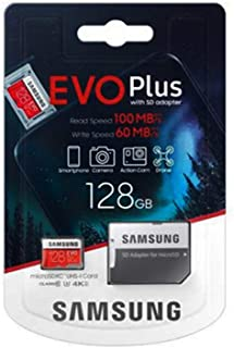 Samsung EVO Plus Hafıza Kartı, 128GB, microSDXC, UHS-I U3 100MB/s, Full HD & 4K UHD with Adapter