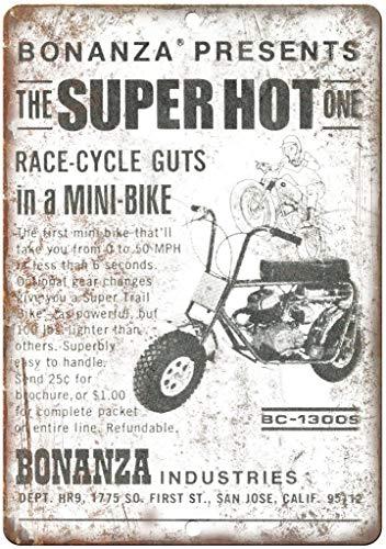 Bonanza Industries MiniBike Blechschild Retro Blech Metall Schilder Poster Deko Vintage Kunst Türschilder Schild Warnung Hof Garten Cafe Toilette Club Geschenk