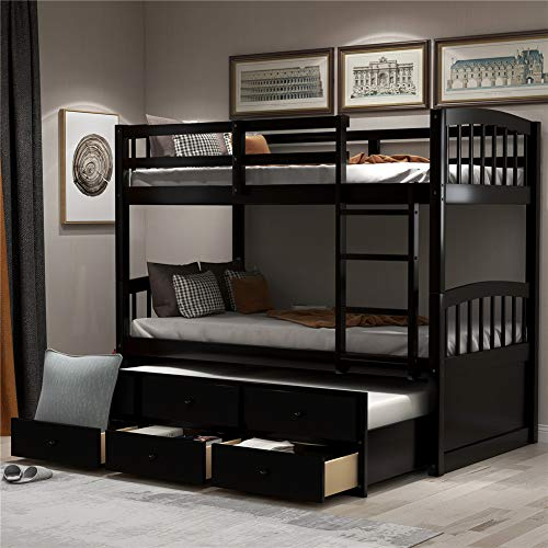 Solid Wood Twin Over Twin Bunk Bed with Safety Rail, Ladder, Twin Trundle Bed with 3 Drawers for Kids, Wood Twin Bed, Teens Bedroom Bed (Espresso)