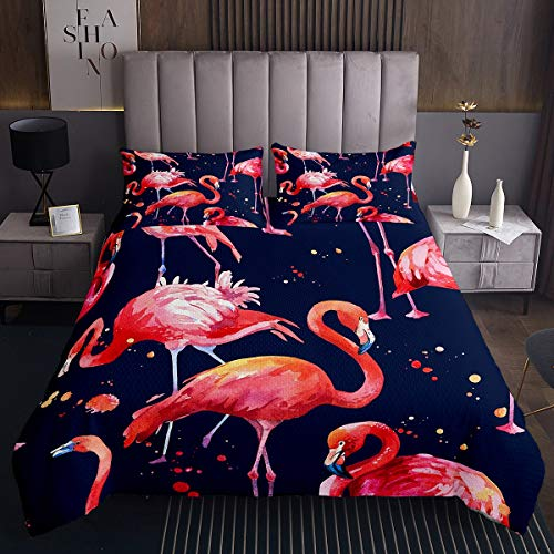 Flamingo Tagesdecke 240x260cm Rote Tropische Flamingos Bettüberwurf Schick Aquarell Vogel Steppdecke für Kinder Rosa Blau Polka Dots Wohndecke Mit 2 Kissenbezug