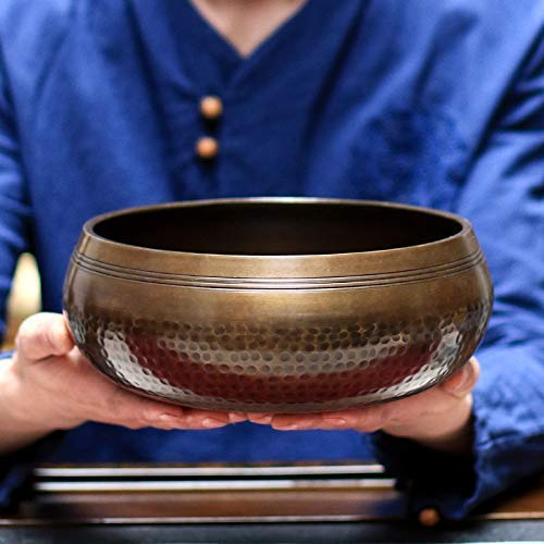 XBR Master Healing Singing Bowl,Yoga Singing Bowl Hand Hammered Tibetan Buddhist Meditation Chakra Brass with Cushion Mallet Yoga Bowl Beautifully Made,Balance & Harmony Design