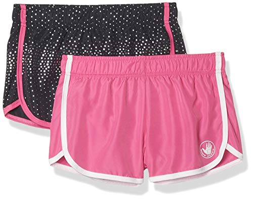 Body Glove Girls 2 Pack Athletic Gym Workout Yoga Running Shorts, Size 8, Charcoal Dots/Fuchsia