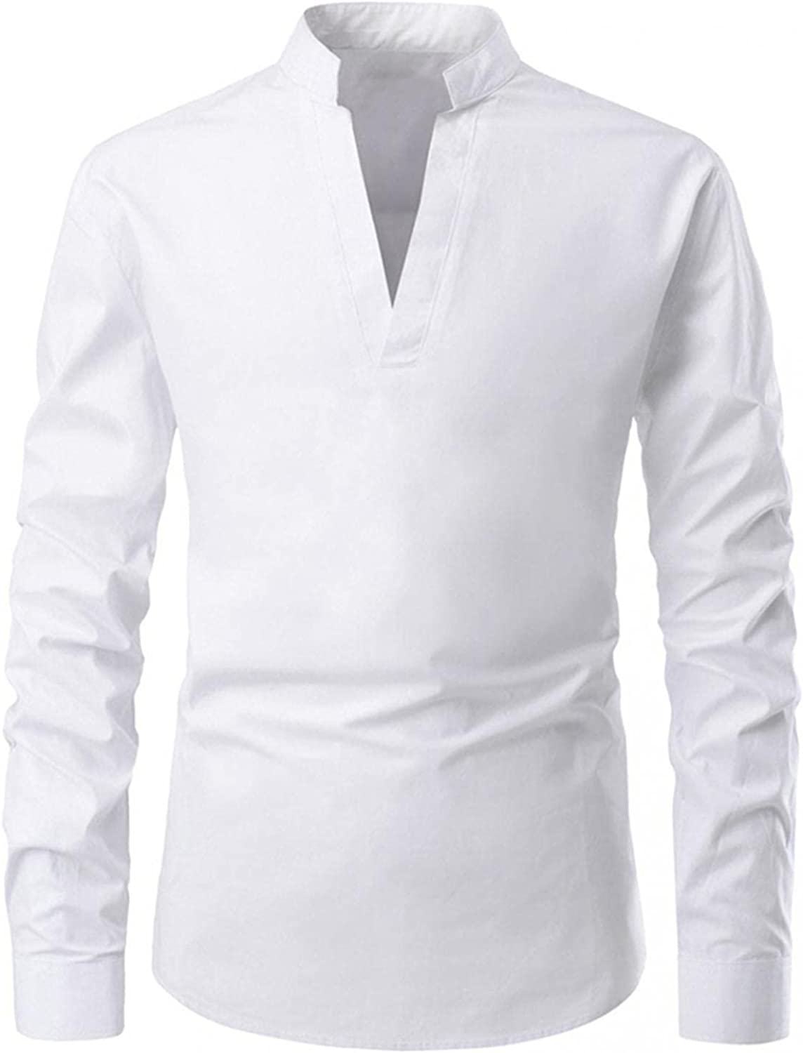 FUNEY Mens V Neck T Shirts Retro Long Sleeve Stand-up Collar Solid Color Cotton Yoga Tops Fashion Gothic Henley Shirts
