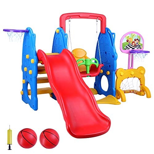 Blue A HUZONG Kids Freestanding Slide Sturdy Toddler Playground Slipping Slide Climber for Indoor Outdoors Use Child Home Game Playset with Basketball Hoop for Baby Birthday Christmas Gifts