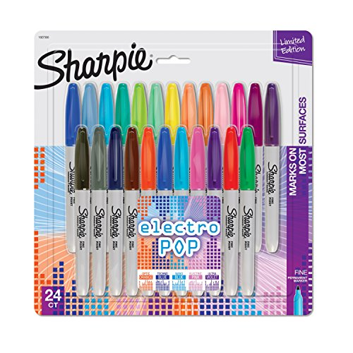 Sharpie 1927350 Electro Pop Permanent Markers, Fine Point, Assorted Colors, 24 Count