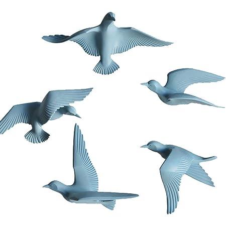 5pcs 3D Resin Flying Seagull Plaques Wall Art Sculpture Decor Blue